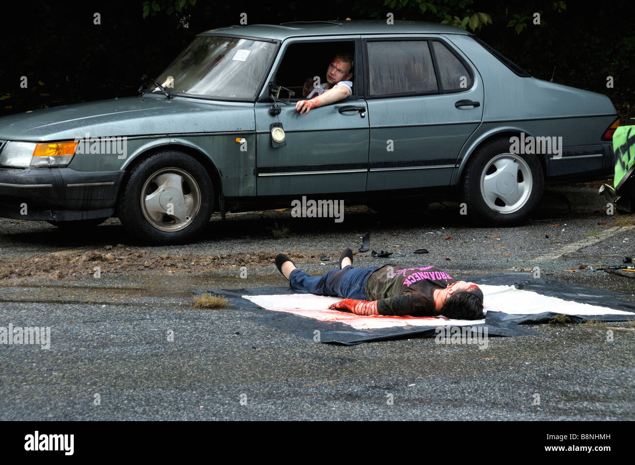 Reenactment of a severe accident scene where a girl was supposed to ...