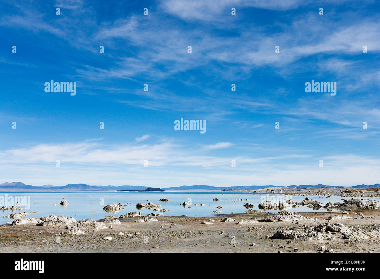 Tufa formations in Mono Lake just off US Highway 395, High Sierra, California, USA - Stock Image