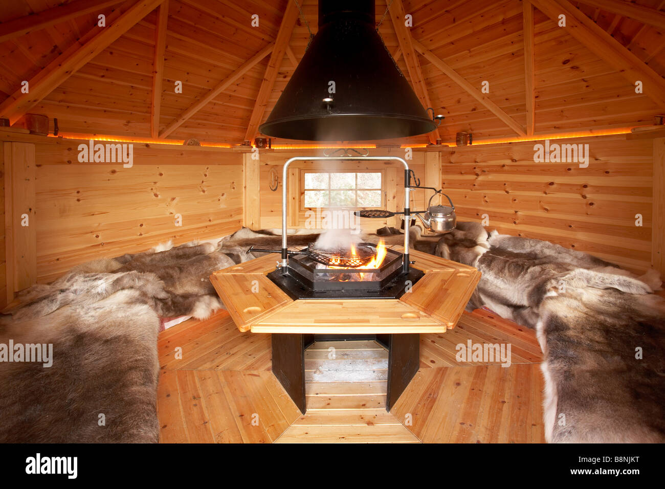 Interior Of A Barbecue Bbq Hut With Pine Wood Paneling And