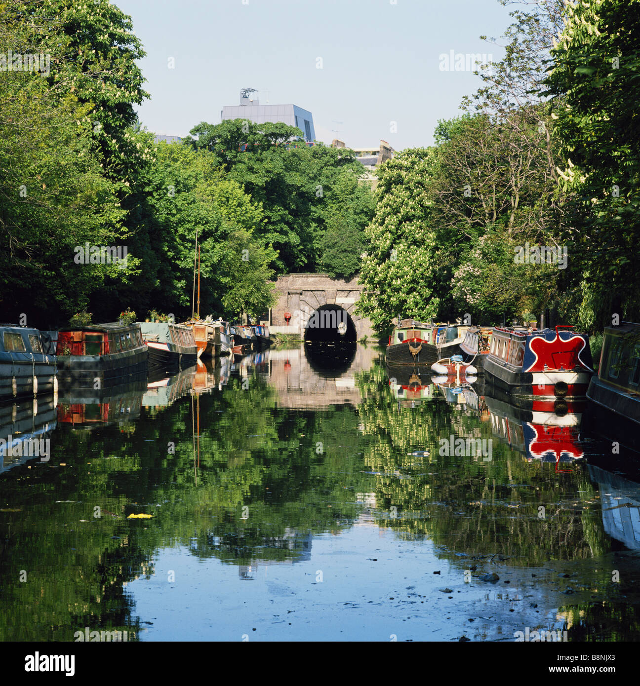 Houseboats on the Regents Canal, in Islington, London, England, UK, GB Stock Photo