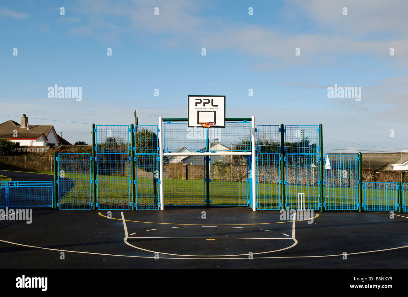 an outdoor all weather sports pitch in camborne,cornwall,uk - Stock Image