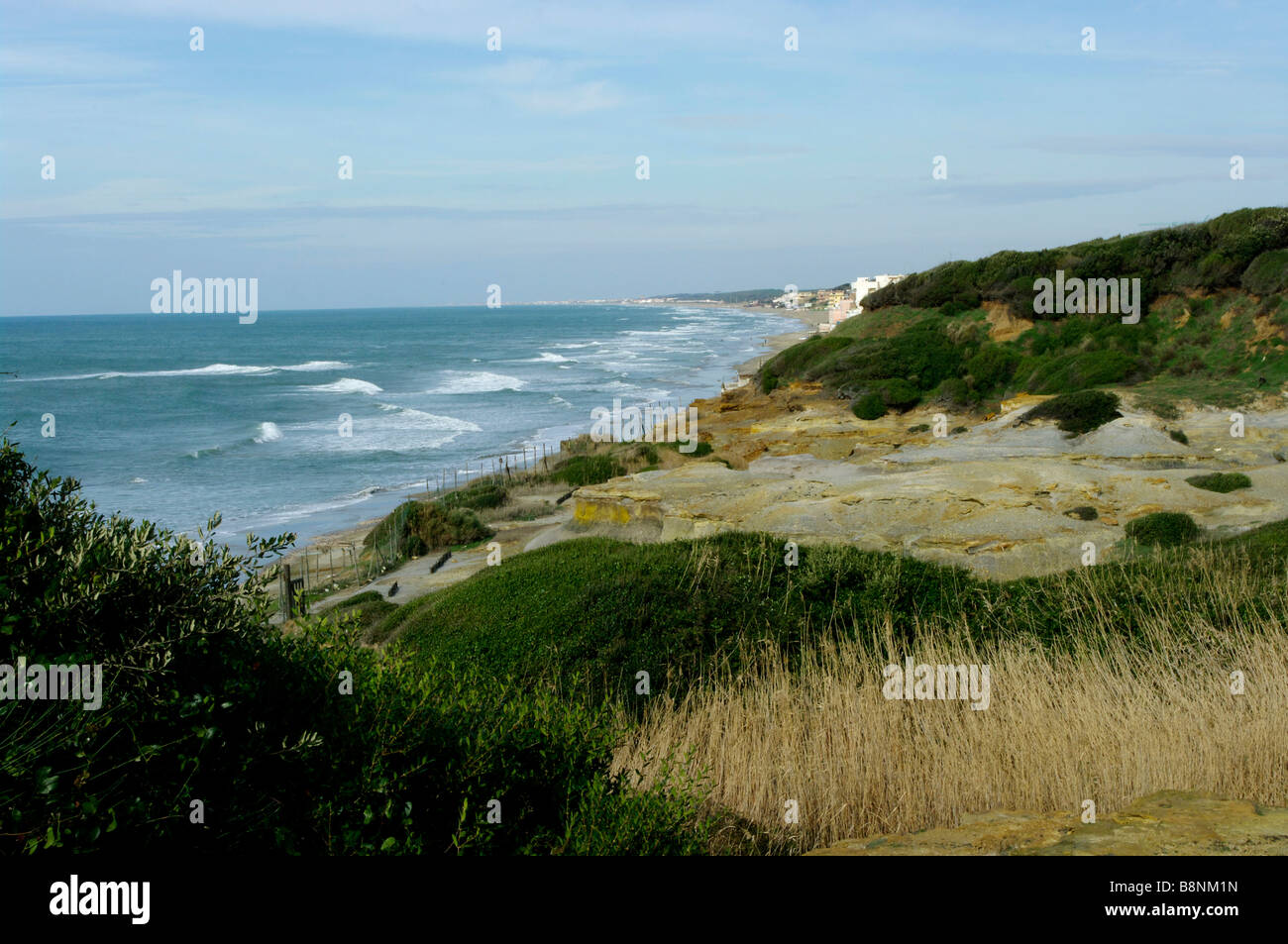 View of coastline from Tor Caldara Nature Reserve - Stock Image