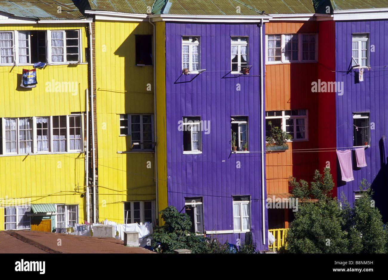 Multicoloured houses in Cerro Bellavista Valparaíso Chile - Stock Image