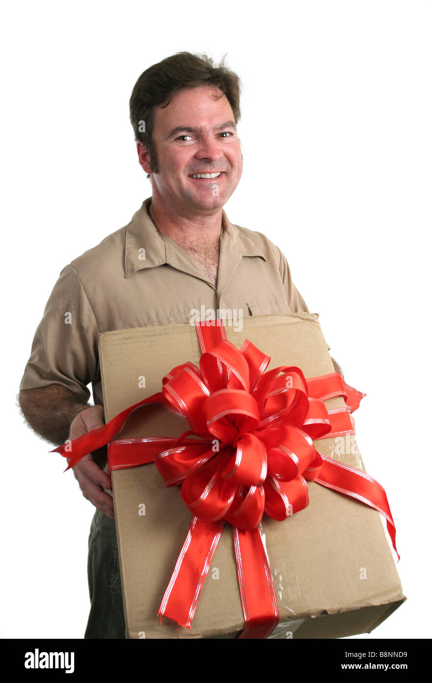 a delivery man bringing a gift isolated Stock Photo