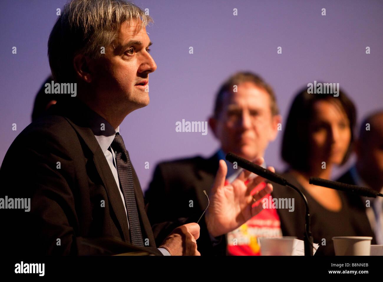 The Convention on Modern Liberty London England 28th February 2009 Chris Huhne MP LibDem spokesman speaking - Stock Image
