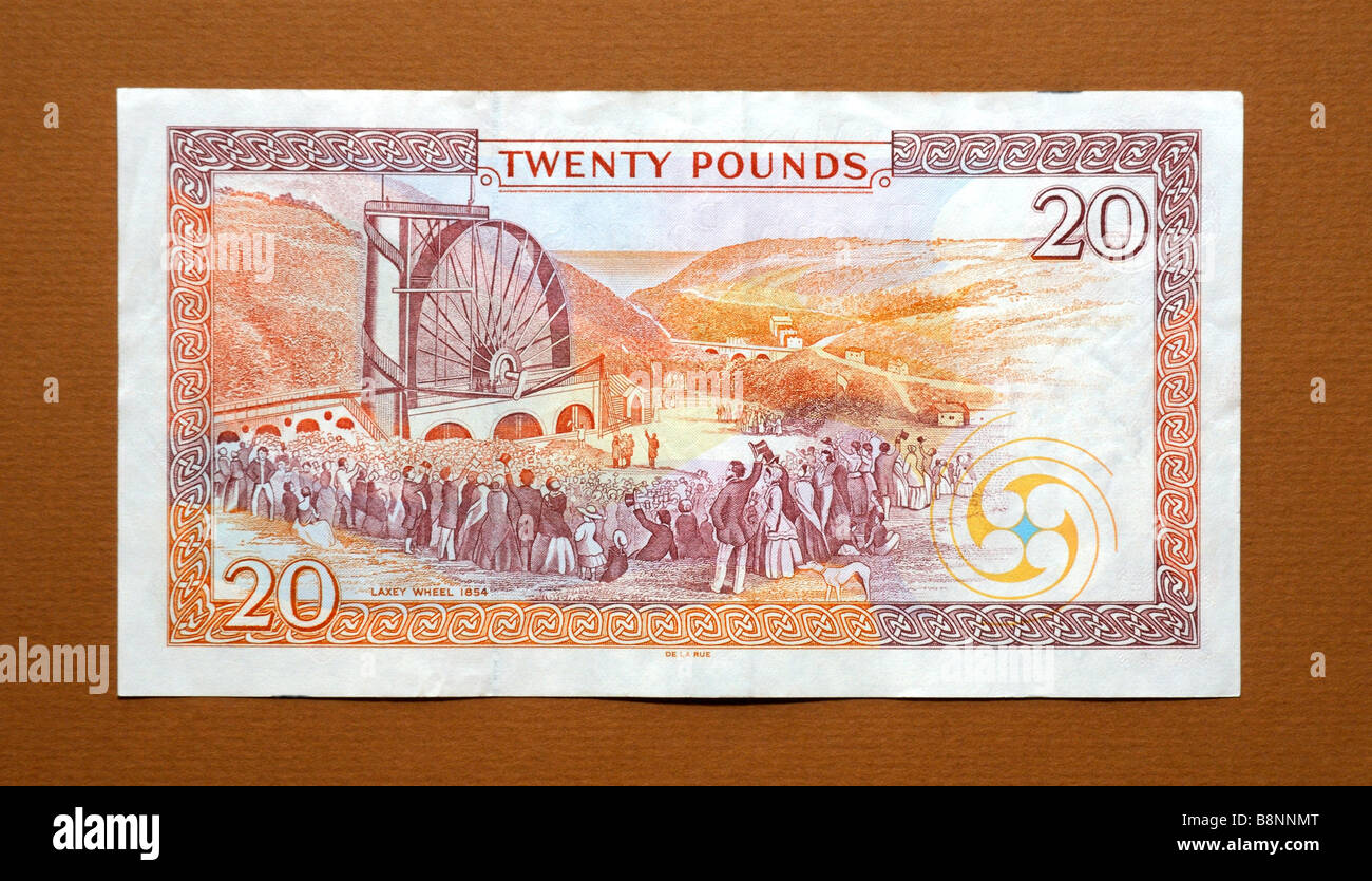 Isle of Man 20 Twenty Pound Bank note - Stock Image
