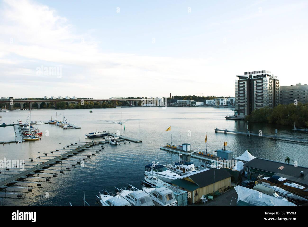 Sweden, Stockholm, Lake Malaren, marina - Stock Image