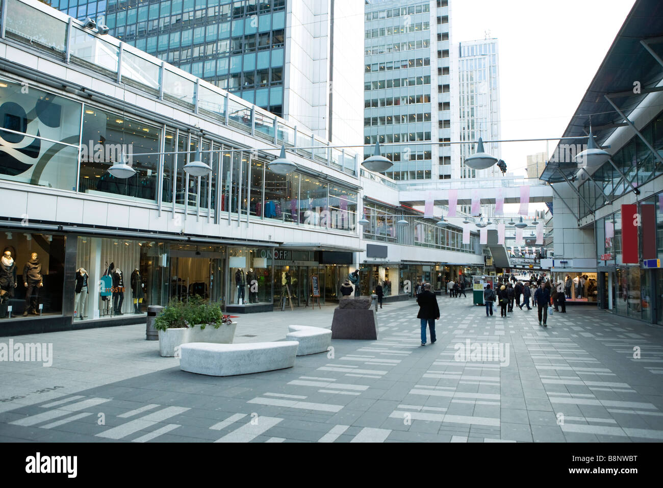 Sweden, Stockholm, upscale outdoor mall - Stock Image