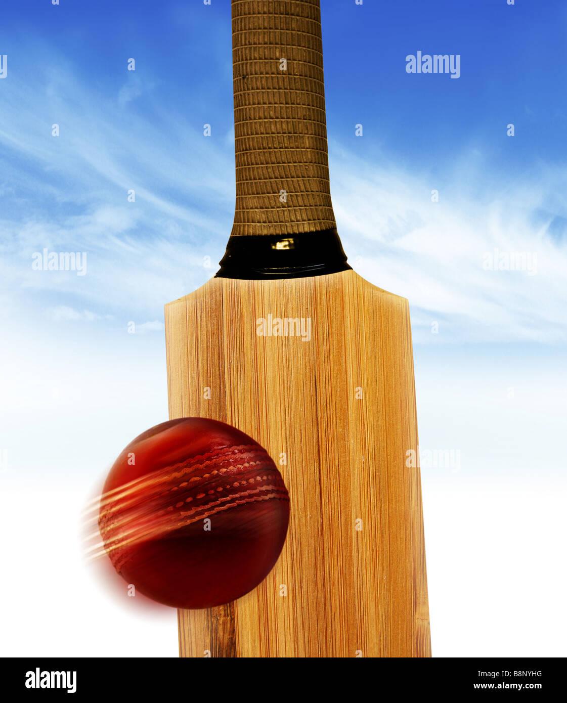 Cricket bat and cricket ball - Stock Image