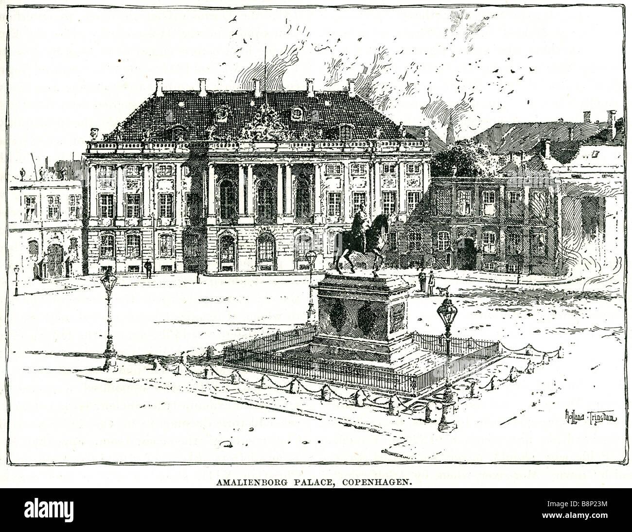 amalienborg palace copenhagen 1864 Danish royal family Denmark rococo - Stock Image