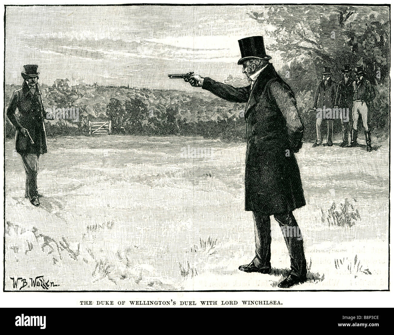 duke of wellington duel with lord winchilsea 1829 challenging Battersea fields - Stock Image