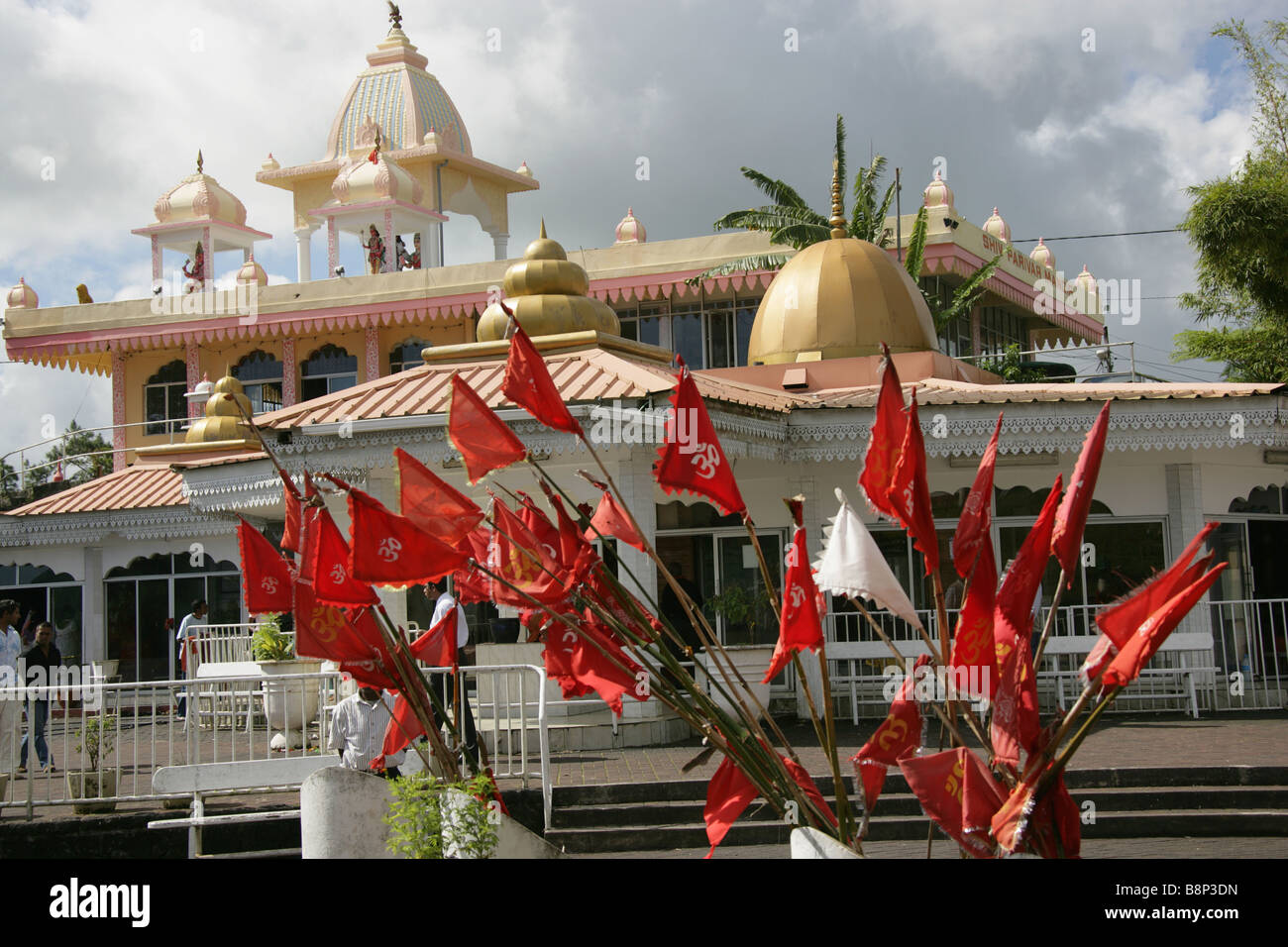 Red Flags With The Om Symbol At The Grand Bassin Indian Hindu Temple