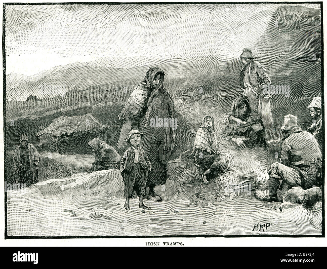 three tramps 1836 homeless tramp vagrant begging scavenging - Stock Image