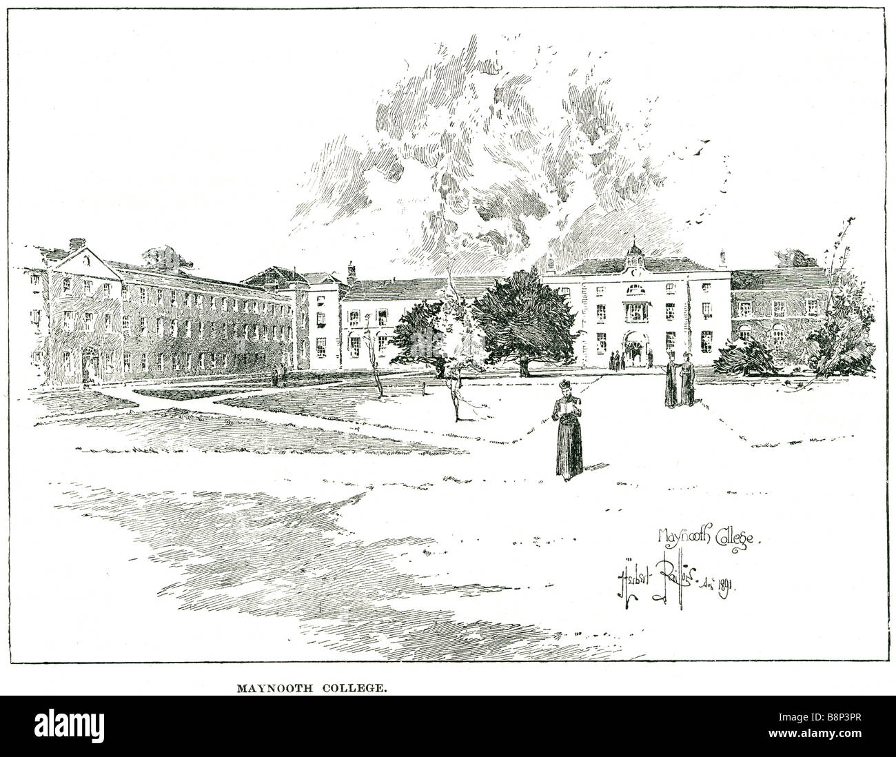 maynooth college St Patrick's National Seminary Ireland University  1840 - Stock Image