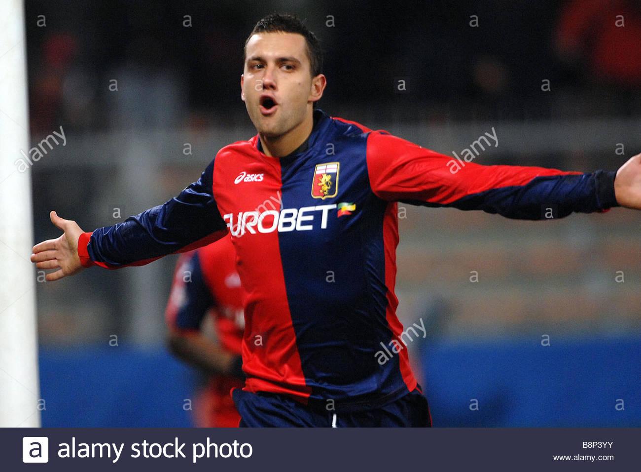 bosko jankovic celebrates his goal'genova 10-01-2009  'serie a football championship 2008-2009  'genoa-torino 3 - Stock Image