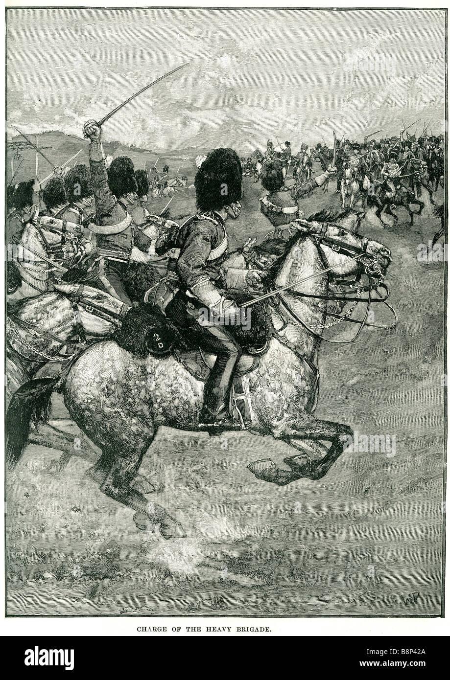 charge heavy brigade 1854 Balaclava Cavalry Dragoon British army - Stock Image
