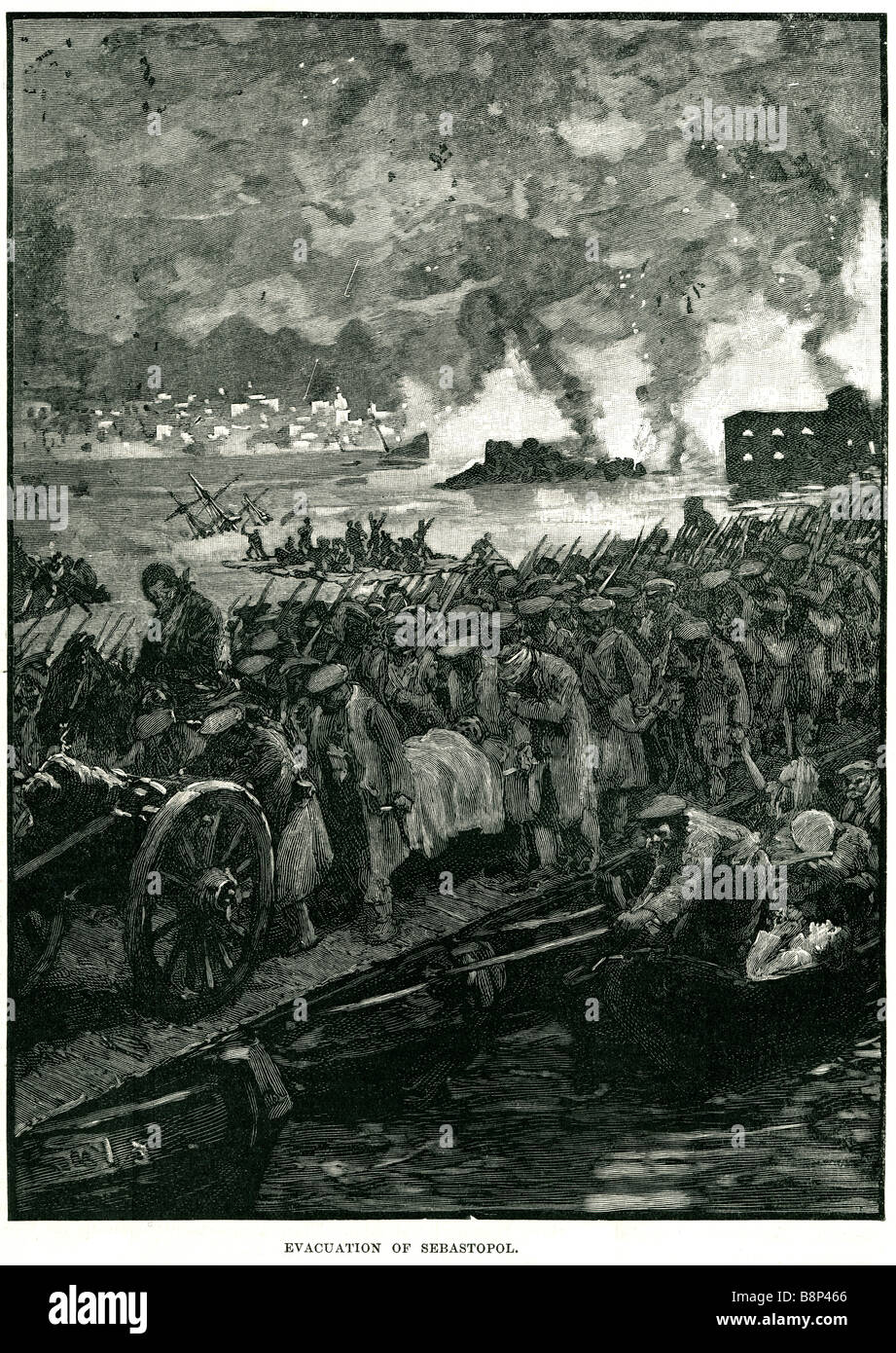evacuation Siege of Sevastopol Crimean War 1855 Allied troop gun batteries trenches - Stock Image