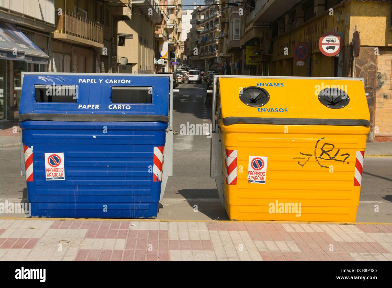 Spanish Recycling Bins Spain - Stock Image