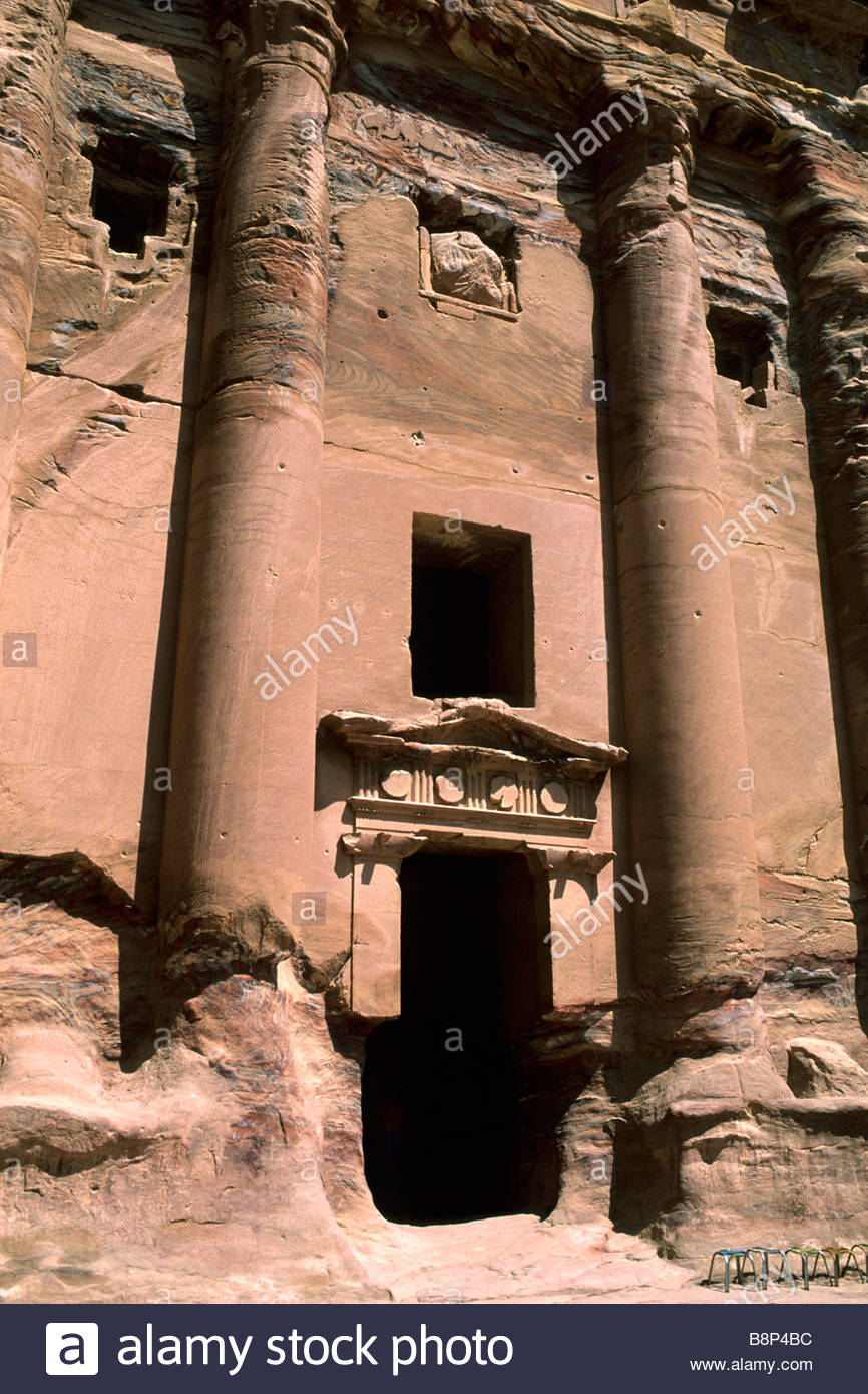 royal tombs, carved into sandstone cliffs by ancient nabateans, jordan, asia - Stock Image
