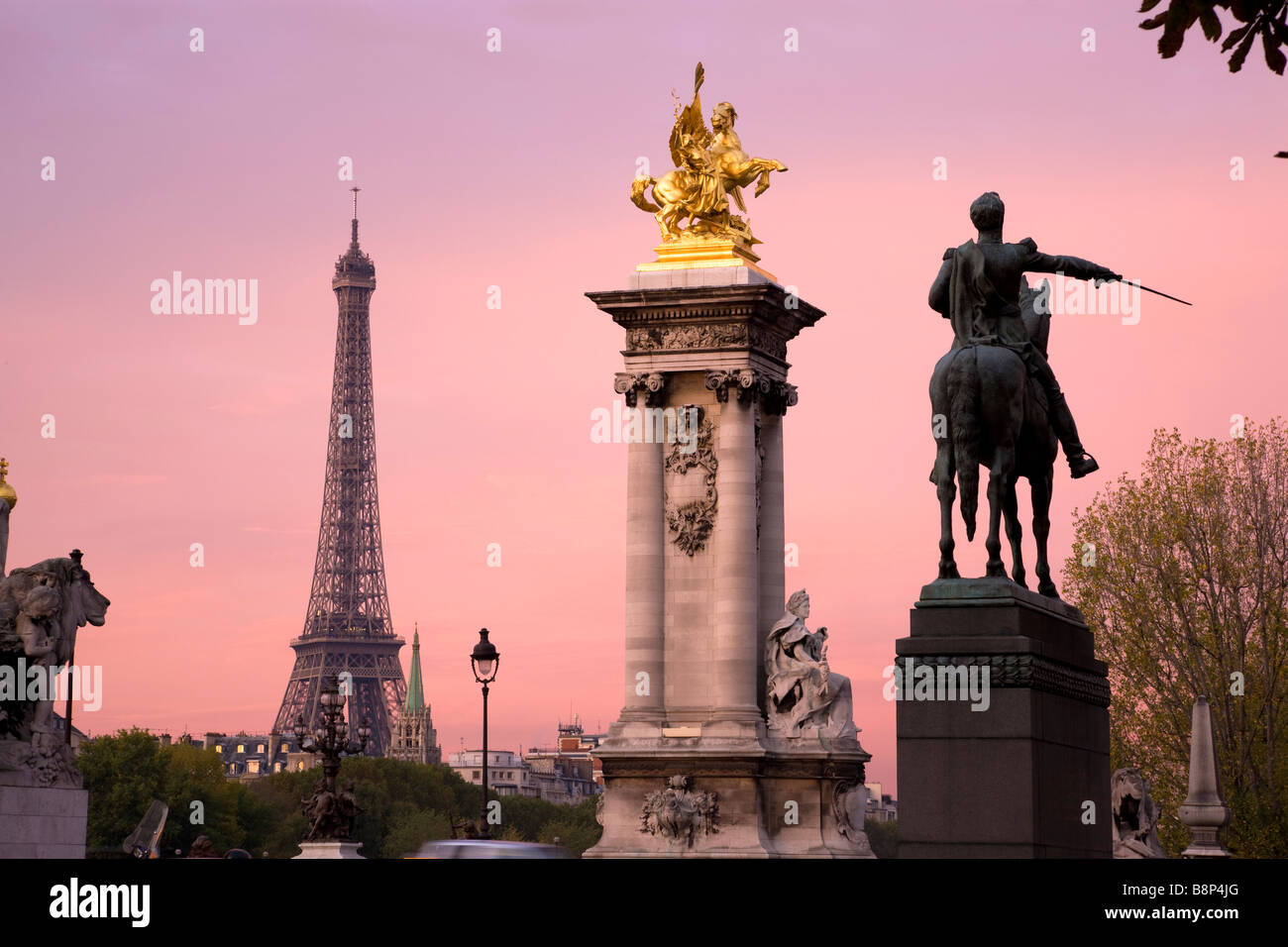 Eiffel Tower viewed from Pont Alexandre lll Paris France - Stock Image