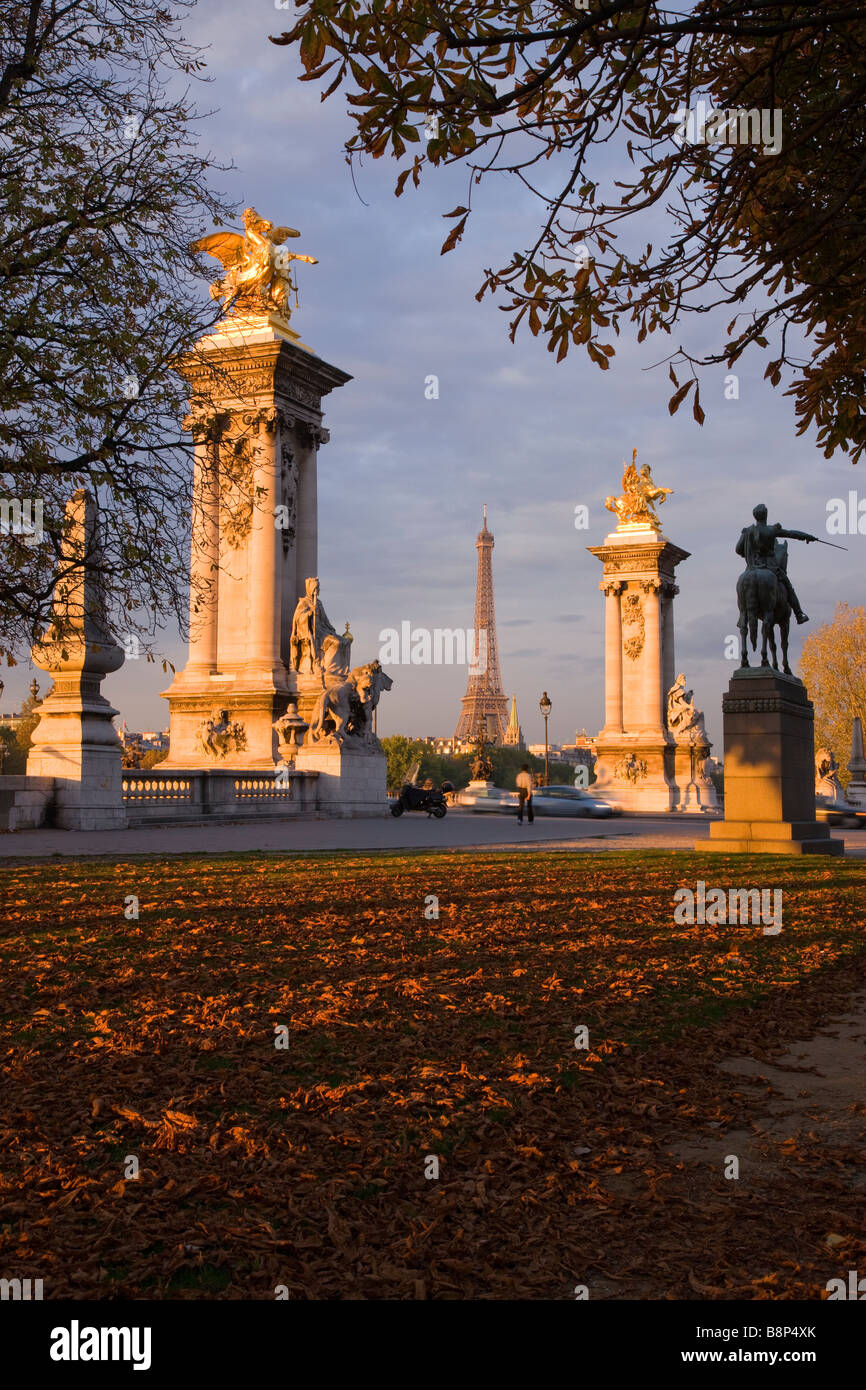 Eiffel Tower and Pont Alexandre III Paris France - Stock Image