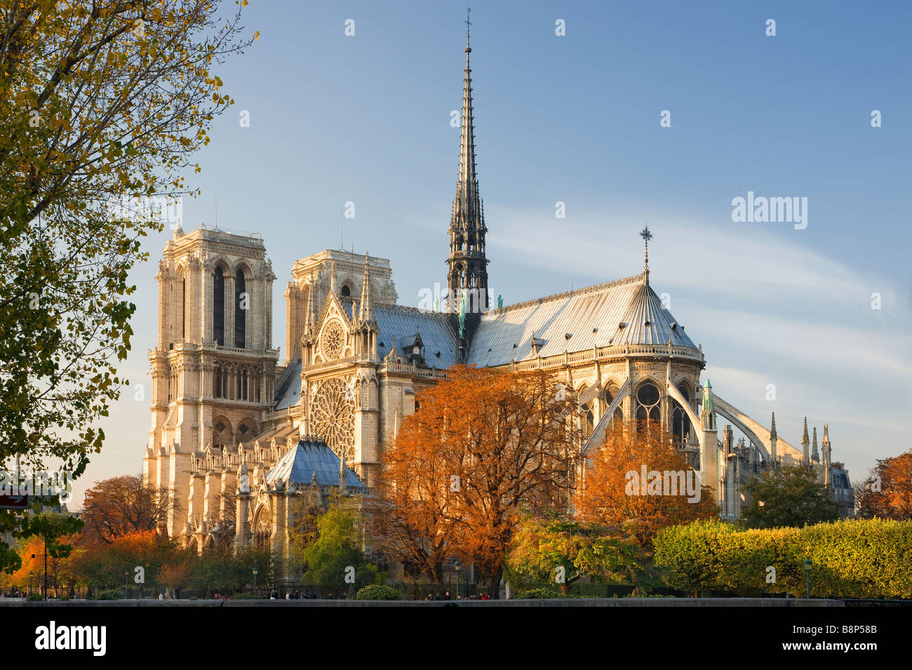 Notre Dame Viewed in the evening light Paris France - Stock Image