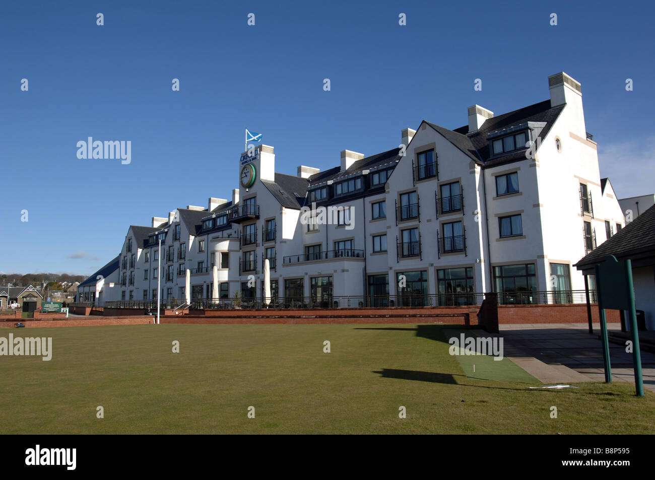 The clubhouse at Carnoustie  Championship Golf Course in Scotland - Stock Image
