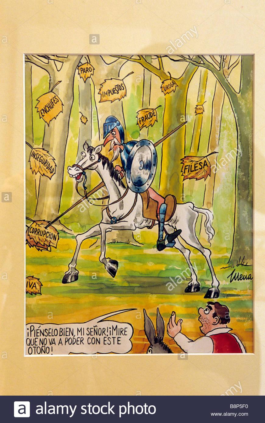 illustratio di don chichotte, centre cervantino, el toboso, spain - Stock Image