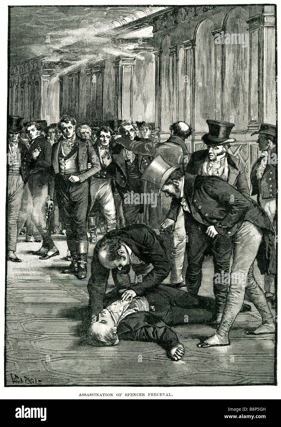 assasination spencer perceval 1812 assassinated British statesman Prime Minister British unpopular - Stock Image