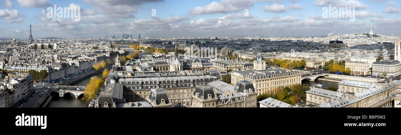 Elevated panoramic view over Paris France - Stock Image