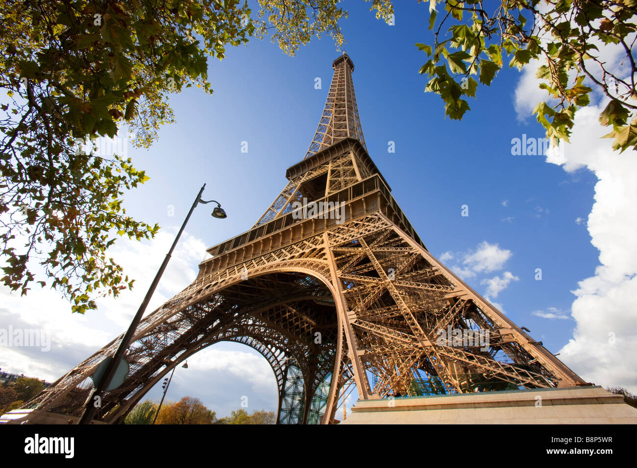Eiffel Tower Surrounded by Autumnal Trees Paris France - Stock Image