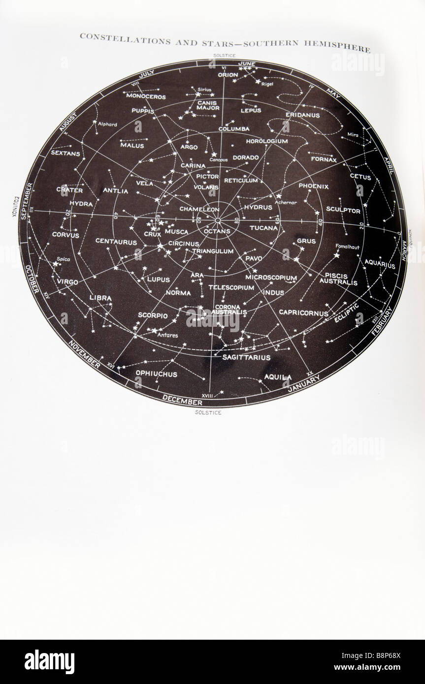 Southern Hemisphere star and constellation sky map Stock