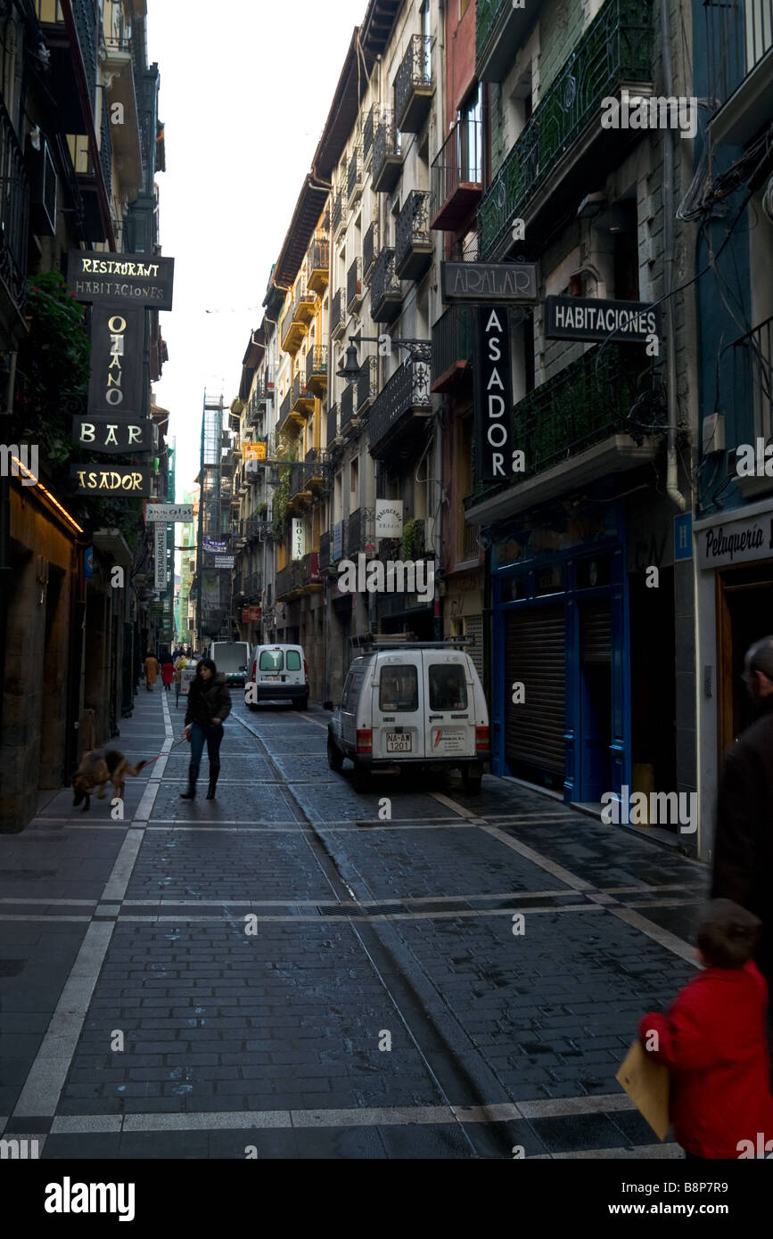 Calle de San Nicolas in the downtown of Pamplona on a February morning. Spain. Stock Photo