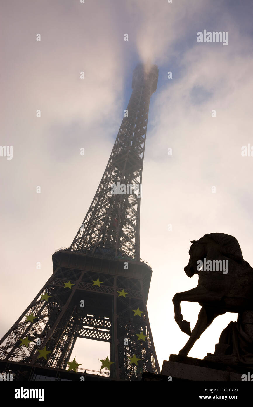 Eiffel Tower Low Angle view Paris France - Stock Image