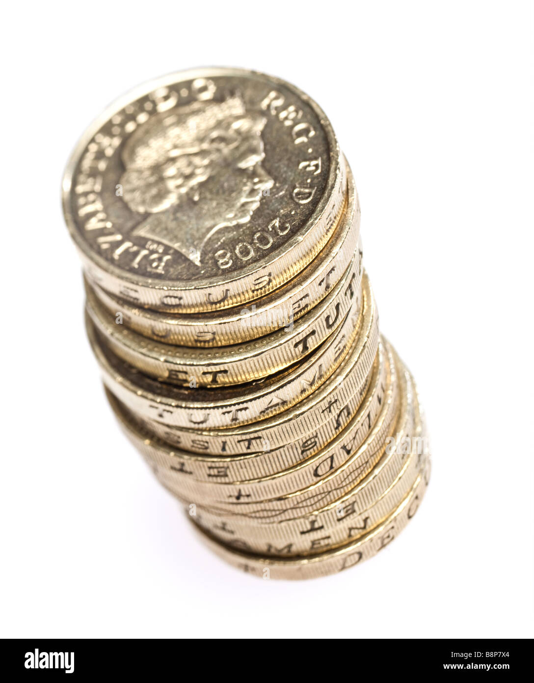 Old £1 one pound coins sterling on white cutout isolated silo - macro - Stock Image
