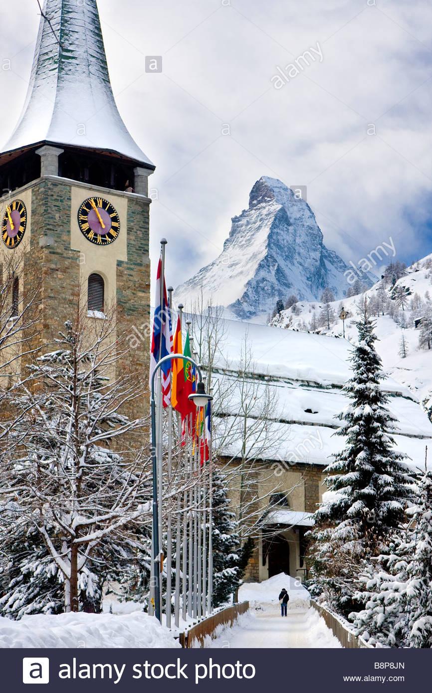 Church Tower and the Matterhorn in Zermatt Switzerland - Stock Image