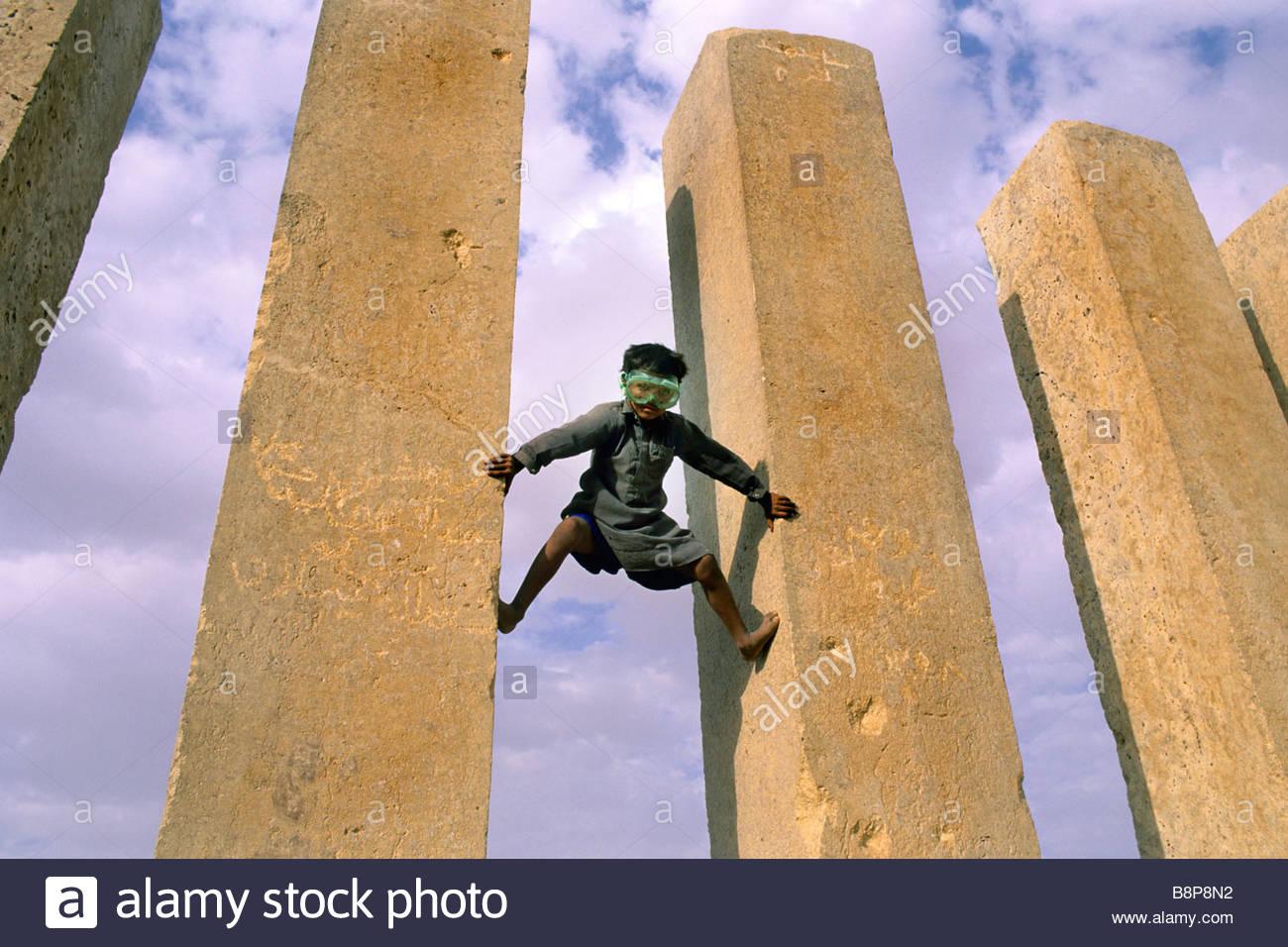 child with musk, sabean temple, marib, yemen, arabian peninsula - Stock Image