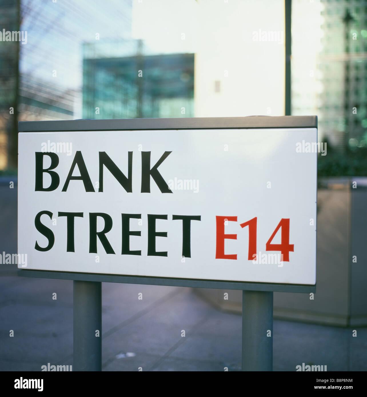 Bank Street E14 street sign in Canary Wharf,  London England UK   KATHY DEWITT - Stock Image