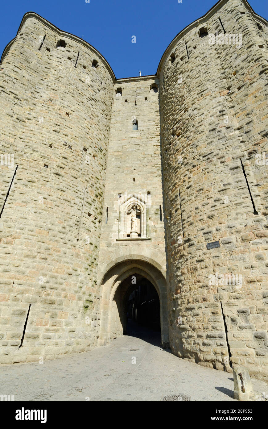 Carcassonne France Porte Narbonnaise east entry gate to the medieval walled Cité - Stock Image