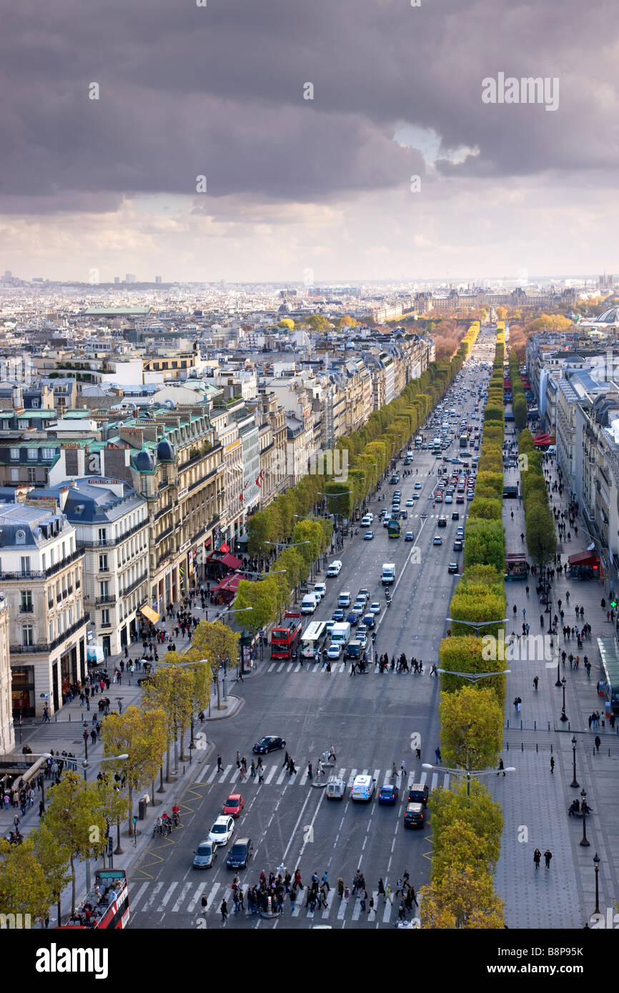 Elevated view down the Champs Elysees Paris France - Stock Image