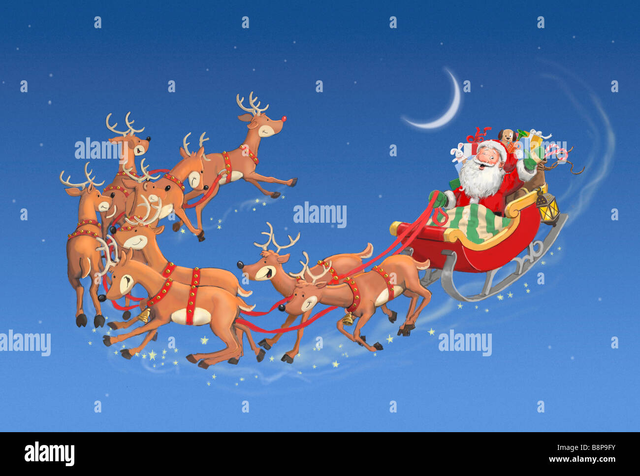 pictures of santa and his sleigh santa in his sleigh pulled by nine reindeer stock photo 5302