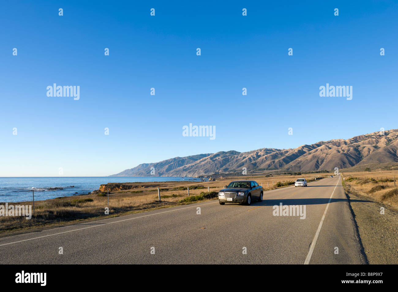 The Pacific Coast Highway or Cabrillo Highway (Highway 1) just south of the Santa Lucia Mountains, Central California, - Stock Image