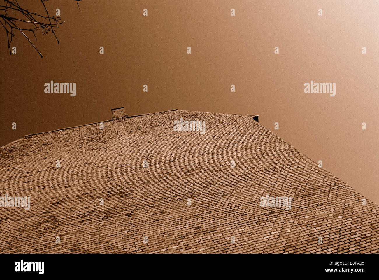 TALL SEPIA WALL - Stock Image