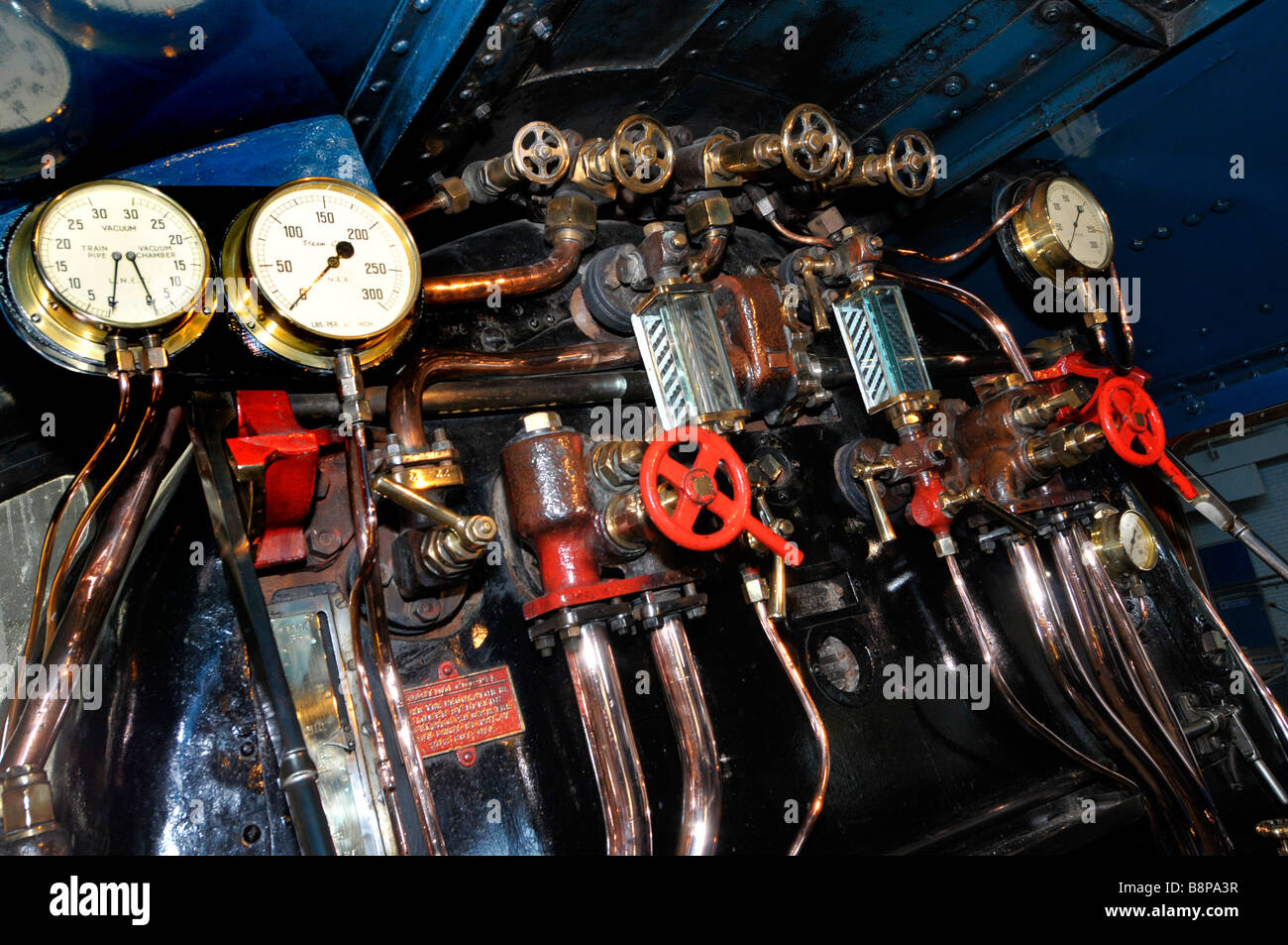 'Foot plate' and controls of Mallard at The National Railway Museum York, Britain, UK - Stock Image