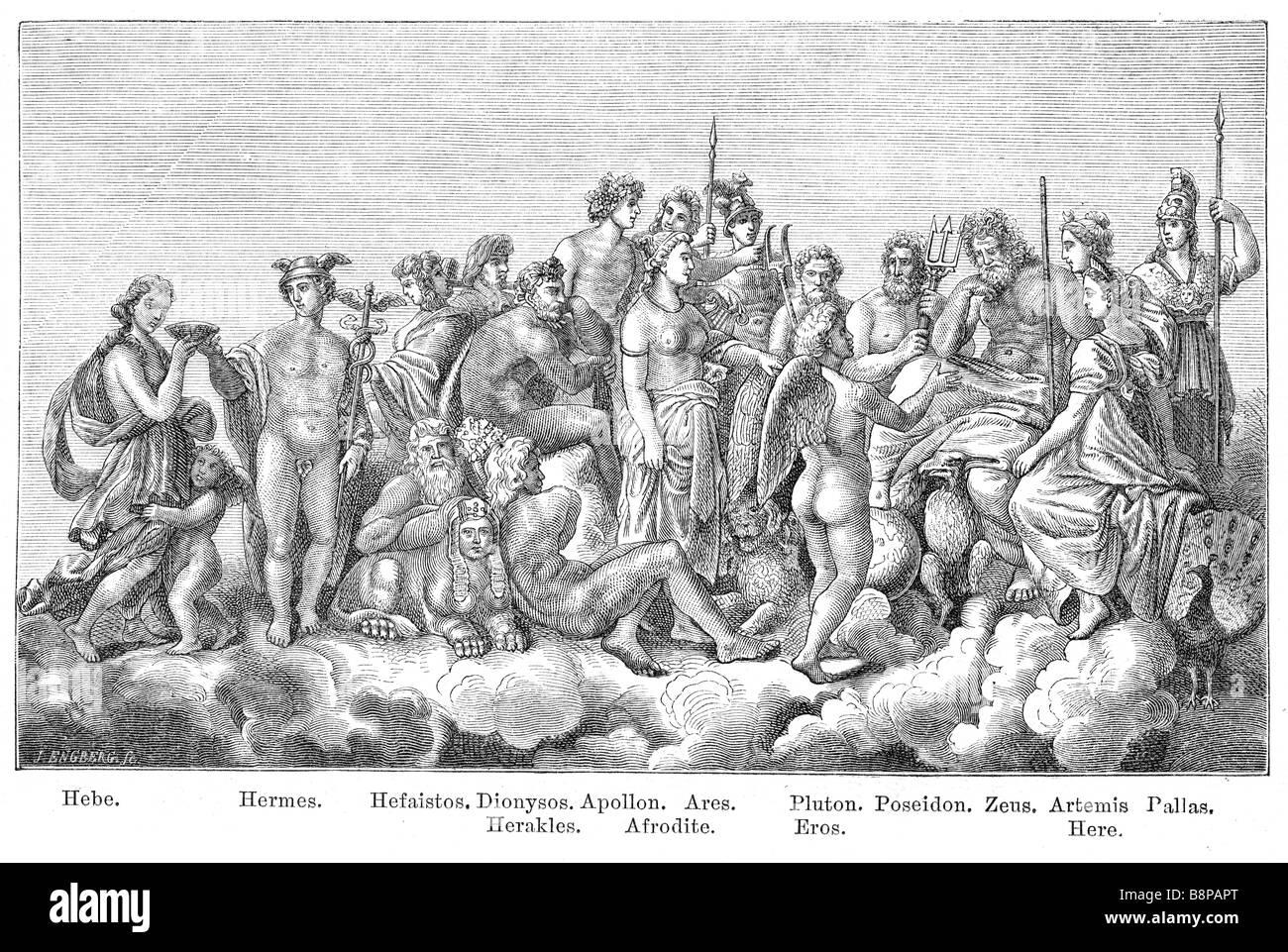 Gods of ancient greek culture. Originally published in swedish book Historisk läsebok published in 1882 - Stock Image