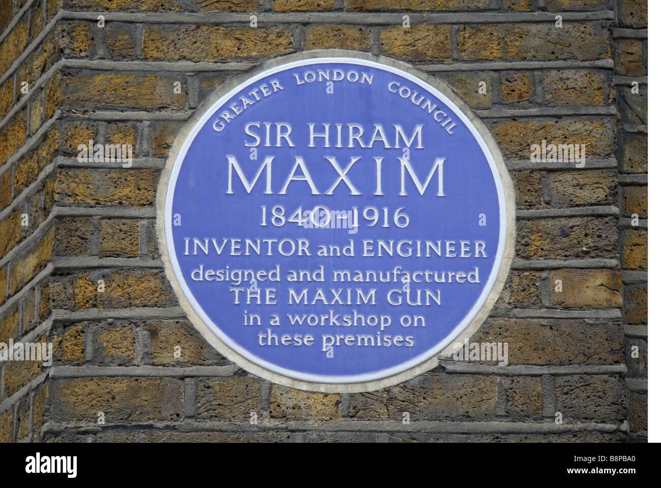 A Blue Plaque (57d Hatton Garden, London) For The Inventor Of The Maxim  Gun, Sir Hiram Maxin, London. Feb 2009