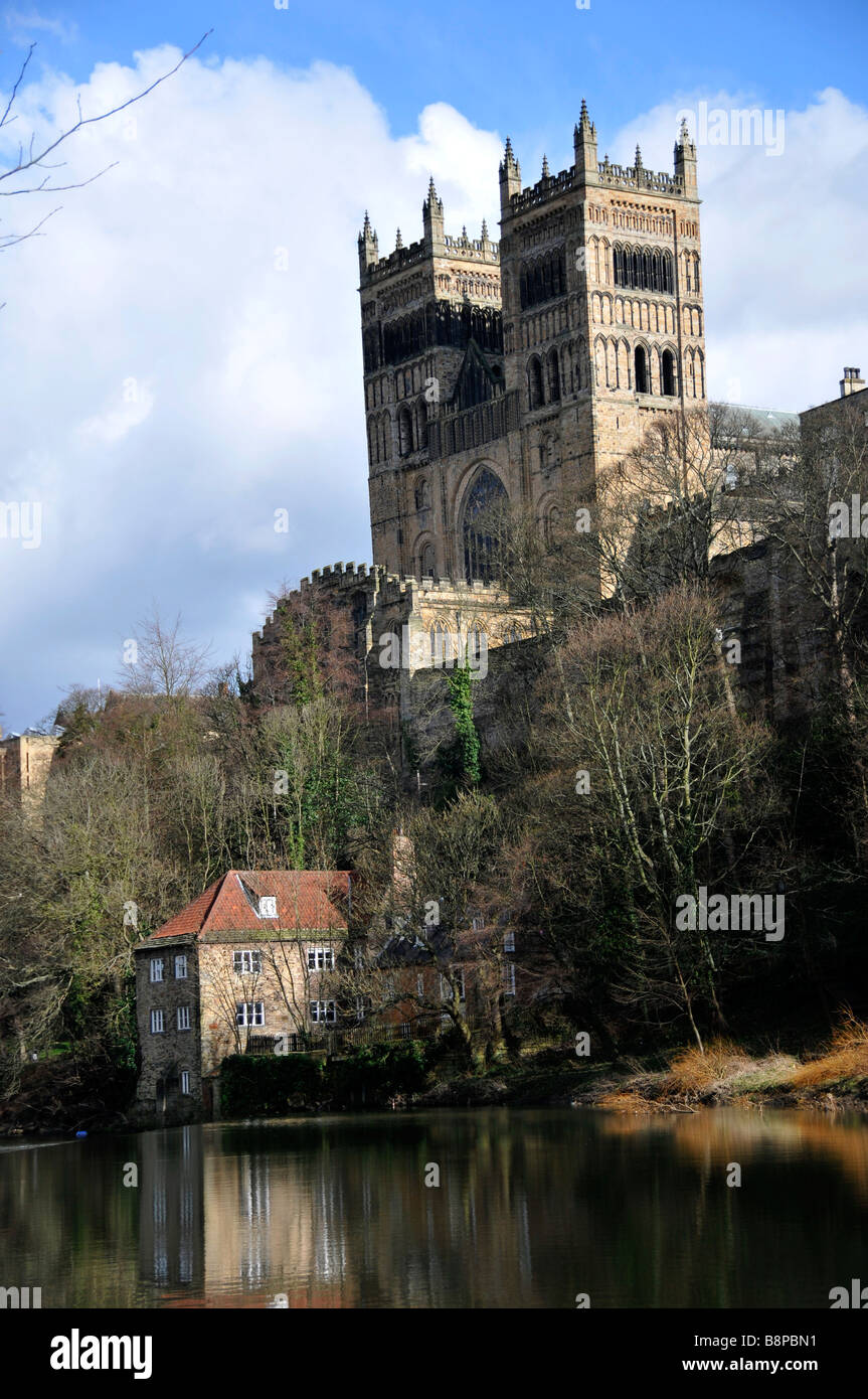 durham cathedral architecture religeon church north of england uk from riverside - Stock Image