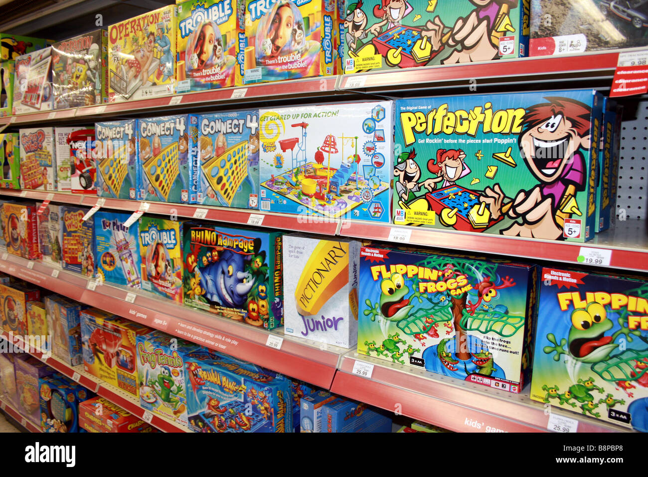 board games on shelf in toy store, united states Stock Photo