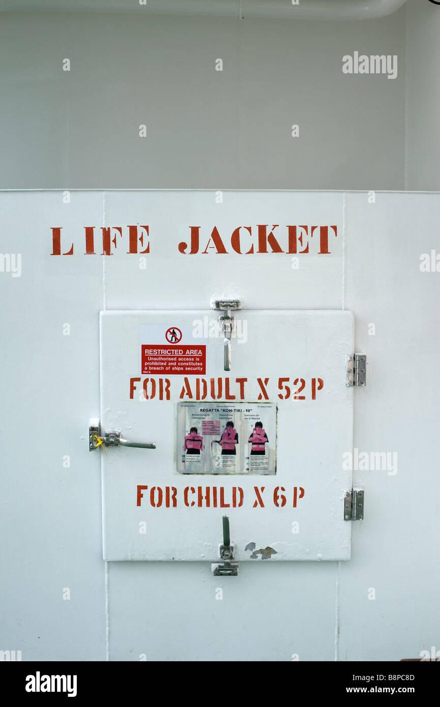 Shipboard life jacket locker - Stock Image