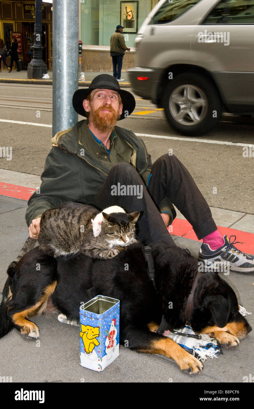 Homeless man with dog, cat and mouse and tin can sitting on